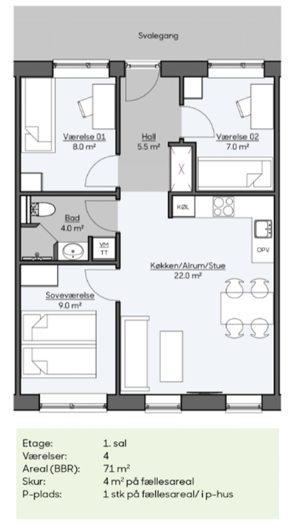 Vedligholdelsesfri bolig med adgang til attraktive fællesfaciliteter i Hedehusene - 1._sals_bolig_1_fc3c17c23545176fb4329ef22d7e6596