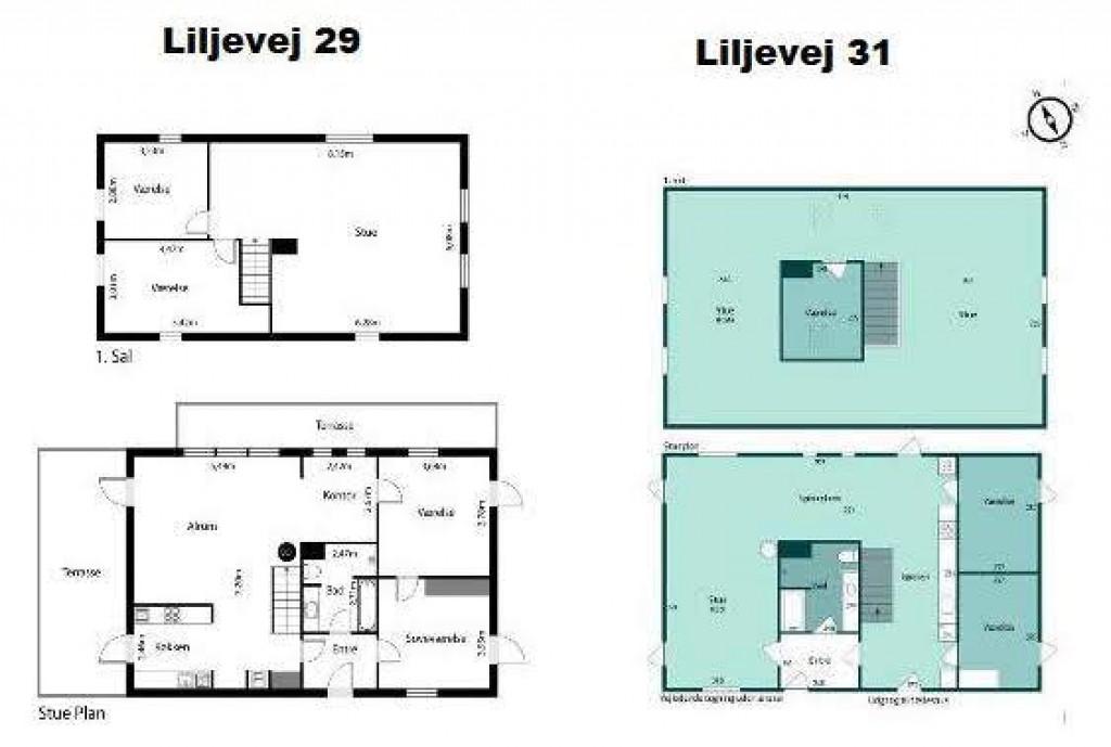 2 boliger i bofællesskab i Vinderslev ved Kjellerup - 12_Plantegning_over_stueplan_og_1._sal_Liljevej_29_og_31_d932d75f7177303f80e22a9c755099c1