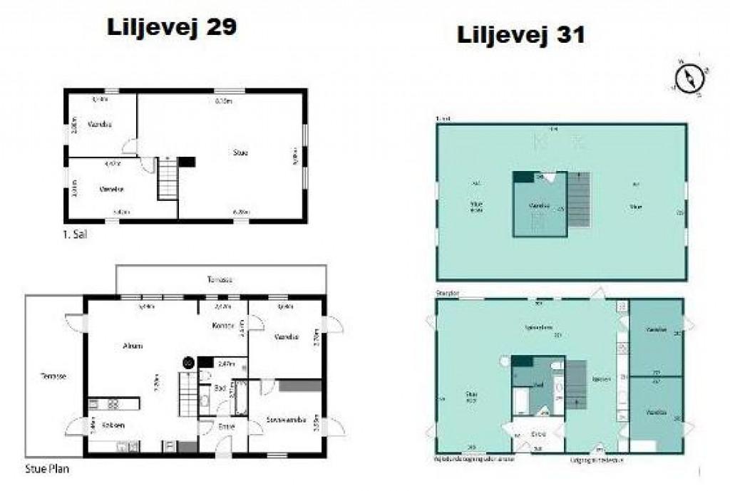 2 boliger i bofællesskab i Vinderslev ved Kjellerup   - 12_Plantegning_over_stueplan_og_1._sal_Liljevej_29_og_Liljevej_31_21ebaab543385031129be568e972e745