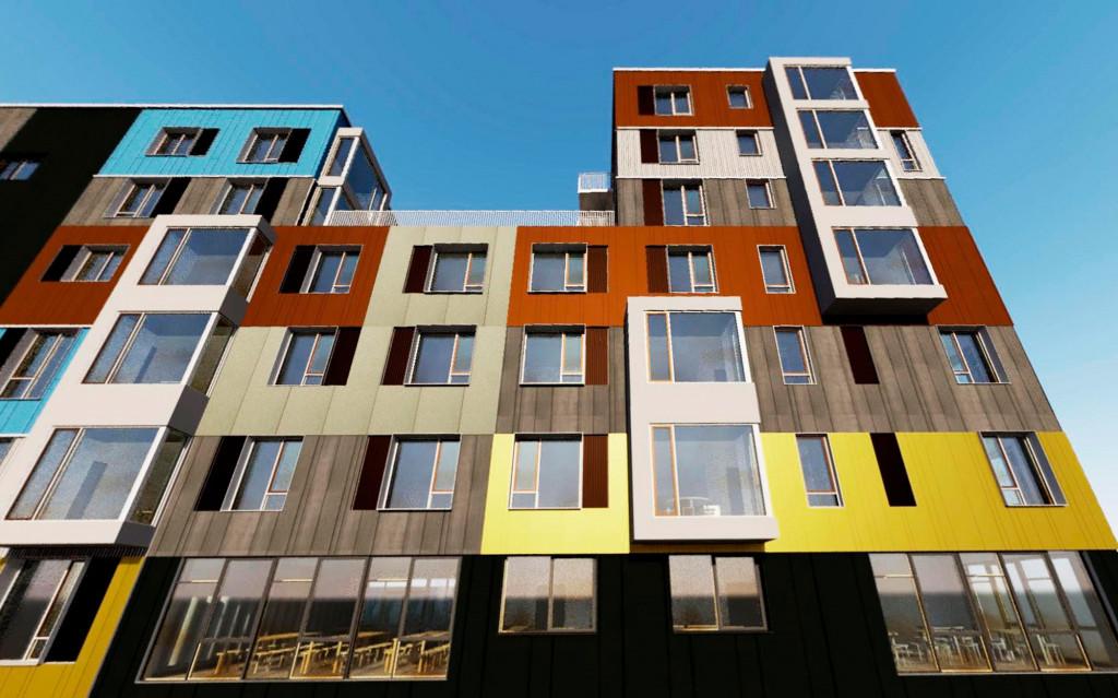 Ny lejlighed i det farverige bofællesskab Fællesbyg - Facade_closeup_e0e1b6ef02dfb0a7ddfe5a7a74e93fde