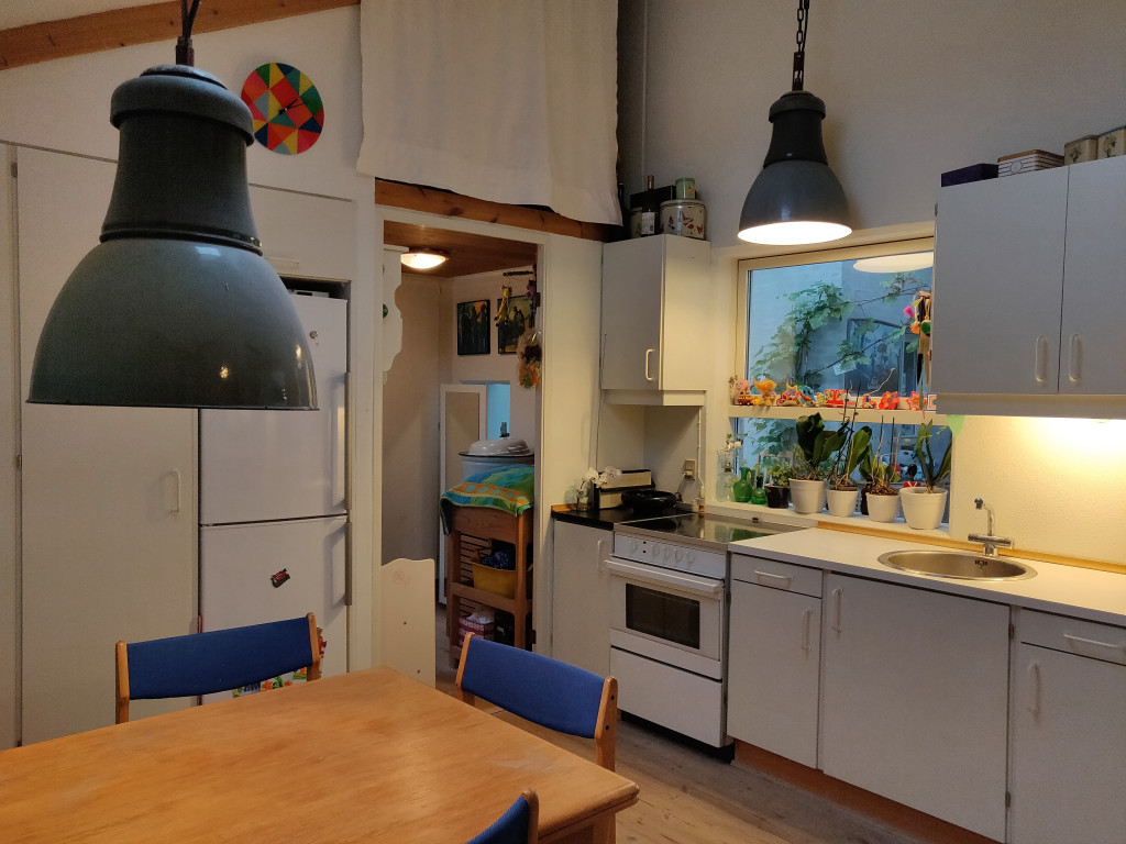 Unik, flot og utraditionel andelsbolig i velfungerende bofællesskab i Randers med udsigt ud over Hornbæk Enge - IMG_kokken_f0c267714c4bf00249ddf8c76f4b7262